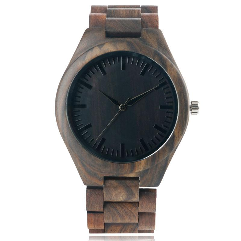 Novel Brown Wooden Watch Men Nature Grain Pattern Simple Style Quartz-battery Clock with Bamboo Band Straps Bracelet Gentlemen Present