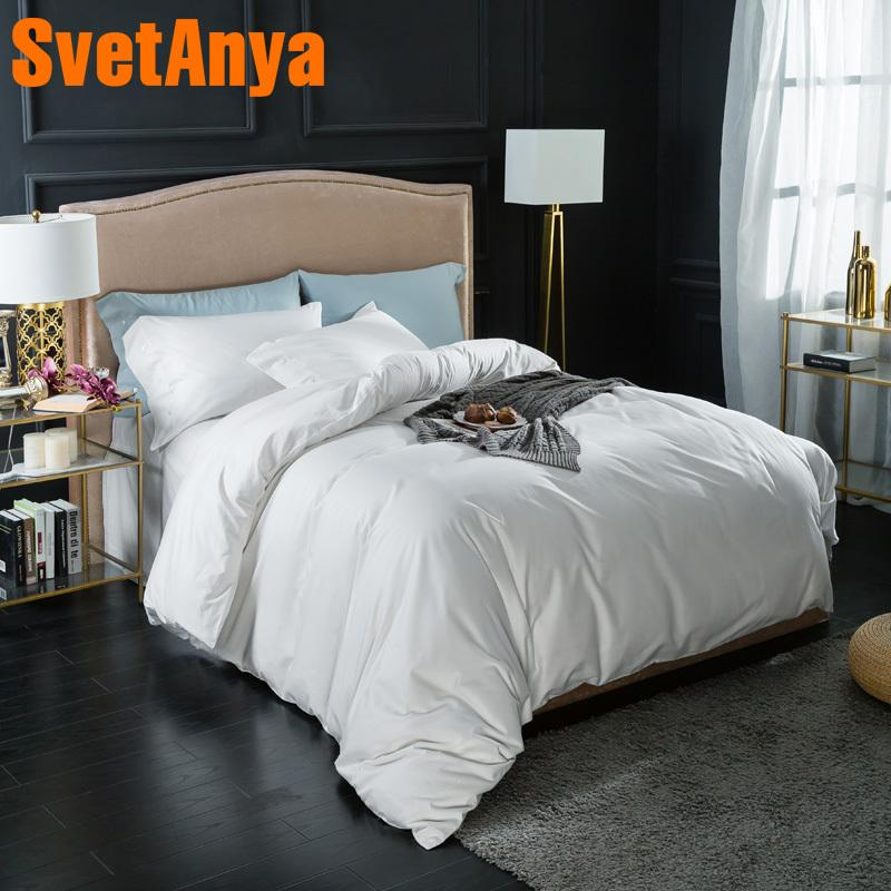Svetanya pure Cotton Bedding Sets White soild Color Bedsheet Pillowcases Duvet cover set Twin Queen King Double Size Bedlinen