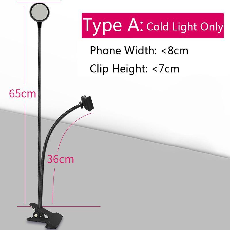 Новое прибытие USB Power LED Selfie кольцо свет с мобильного телефона клип держатель ленивый кронштейн стол для Iphone Samsung