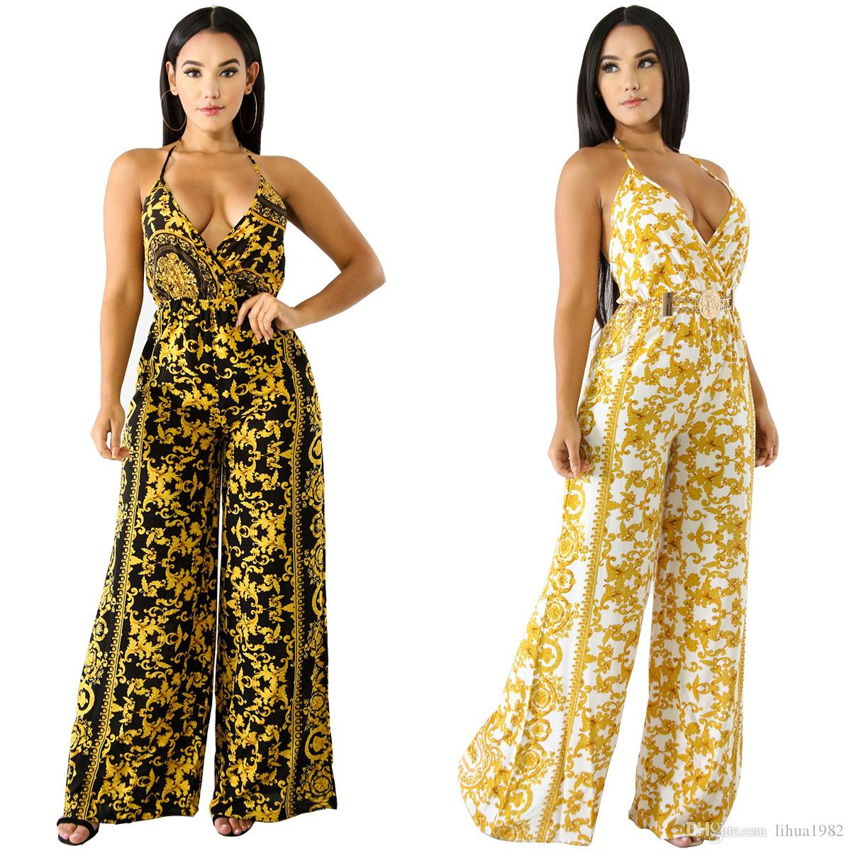 7612958a353b 2019 Sexy Spaghetti Strap Print Women Jumpsuit Backless Halter Top Long  Loose Pants Ladies Romper From Lihua1982
