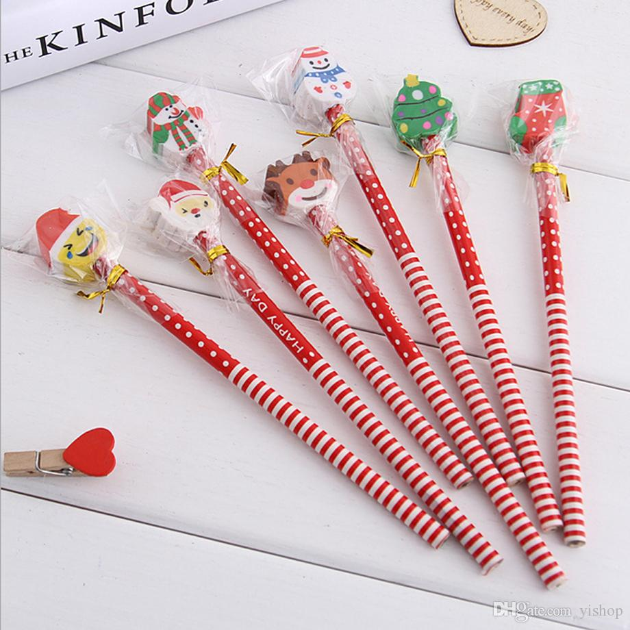 18.5cm Cute Children\'S Cartoon Pencil With Christmas Santa Claus ...