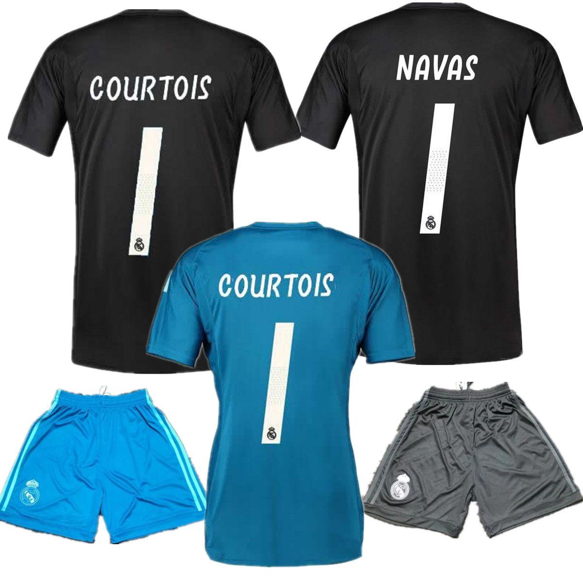 ba2383e799 Compre 18 19 Real Madrid   13 Courtois Camisolas De Guarda Redes 1 Keylor  Navas Jersey Camiseta Curtas 2018 19 13 Thibaut Courtois Madrid Azul Negro  Guarda ...