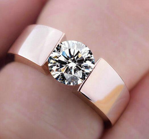 Wedding Rings Men Woman Classic Engagement Ring Silver 18k Rose Gold