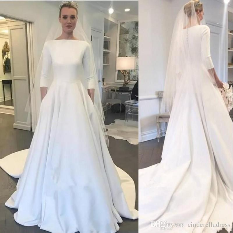 89a6e9c1a2 Discount 2019 Cheap Meghan Markle Style A Line Elegant Wedding Dresses  Bateau Neck Long Sleeves Sweep Train Covered Buttons Back Garden Bridal  Gowns Wedding ...