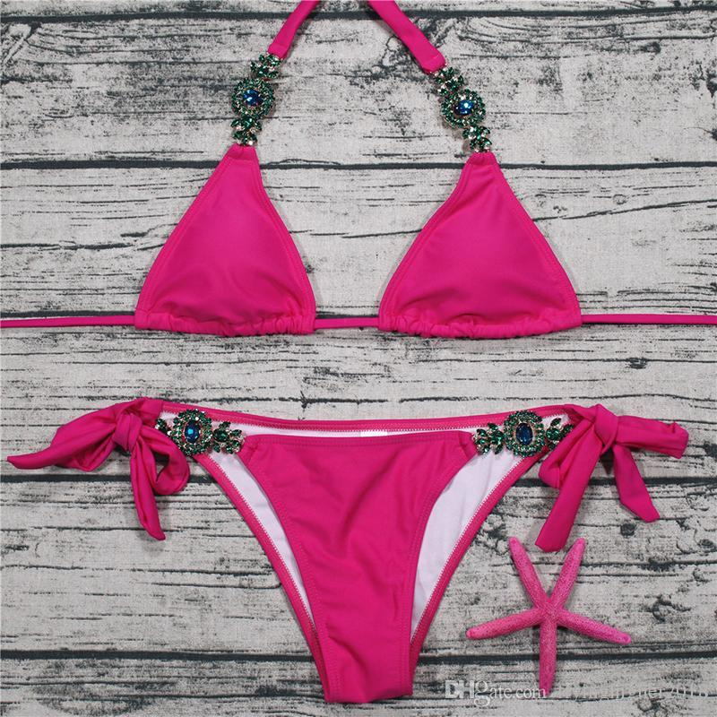 Luxury Rhinestone Beaded Women Yellow Red Green Swimwear Beachwear Push-Up Halter Triangle Top Thong Bikinis Bathing Suits