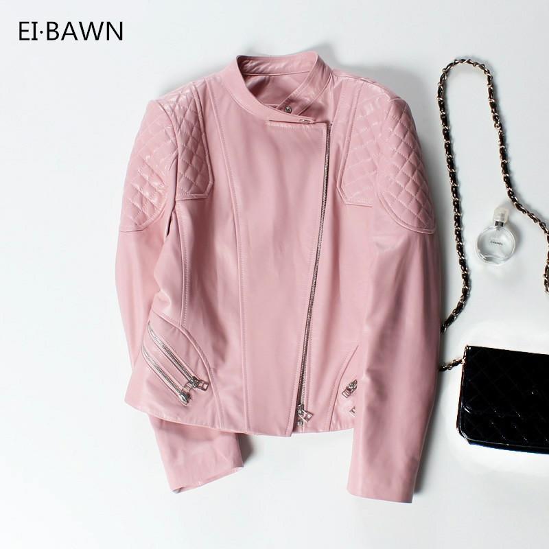 66f662dbf59 Autumn Genuine Leather Jacket Women Sheepskin Coat Plus Size Black Pink Red  Short Ladies Coat Cropped Punk Female Bomber Jacket Y18110501 Leather  Bomber ...