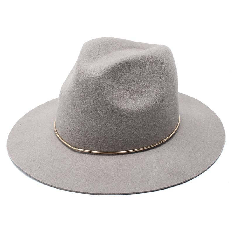 64979f03f ROSELUOSI 100% Wool Felt Jazz Hat For Women Wild Brim Panama Fedoras With  Metal Decoration Casual Solid Color Chapeau Femme