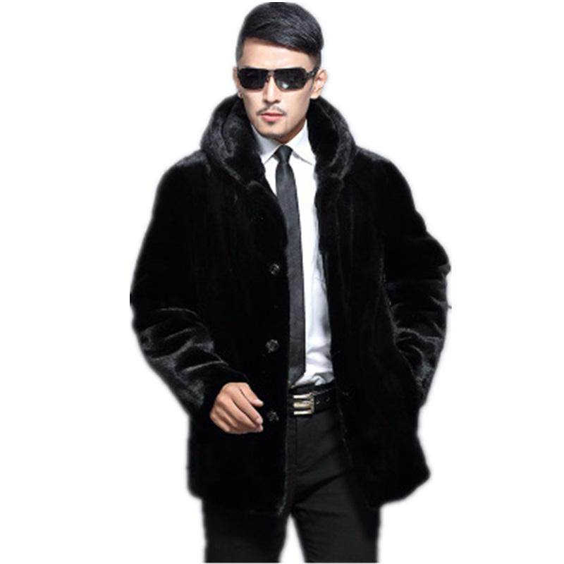 Herbst Winter Herren Faux Pelzmantel Dicke Warme Männliche Jacke Nerz Künstliche Pelzmäntel Schwarze Jacke Casual Reißverschluss Winter Jacken Männer