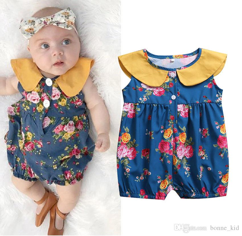 Girls' Baby Clothing Cute Kids Girls Rompers Newborn Infant Baby Girls Sleeveless Peter Pan Collar Floral Romper Jumpsuit Summer Clothes Blue Bodysuits & One-pieces