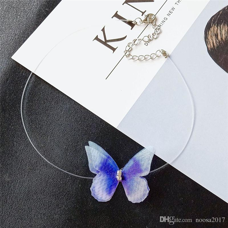 New Butterfly chokers mix simple transparent fish line invisible Plastic Butterfly necklace clavicle chain jewelry for women