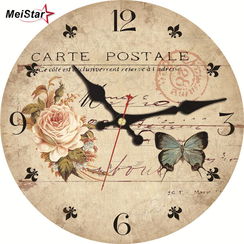 Meistar Vintage Wooden Flowers Design Clocks Classic Watches Silent Cafe  Office Kitchen Clock Home Decorations Large Wall Clock Large Outdoor Clocks  For ...