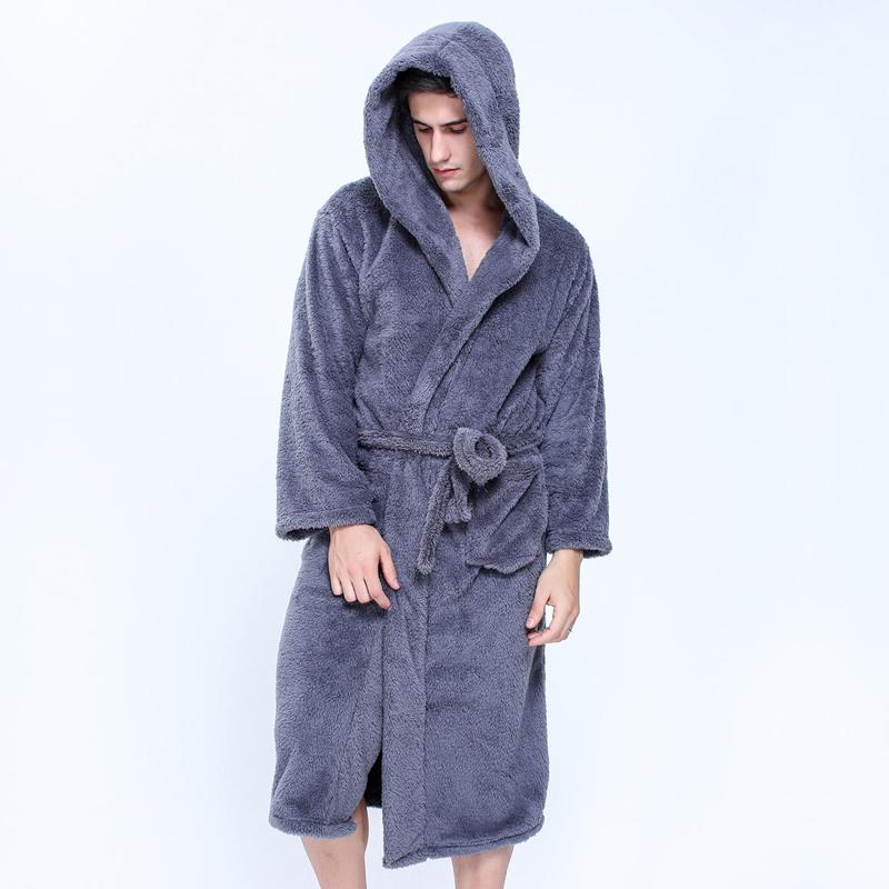 8053c15abf 2019 Plus Size XXL Hooded Robes Bathrobes For Male Winter Keep Warm Long  Sleeved Exquisite Plush Mens Dressing Gown Couples Robes From Sweatcloth