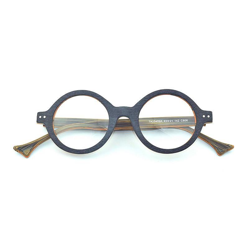 Großhandel Holzrahmen Runde Brille Frames Männer Retro Brille Rahmen ...