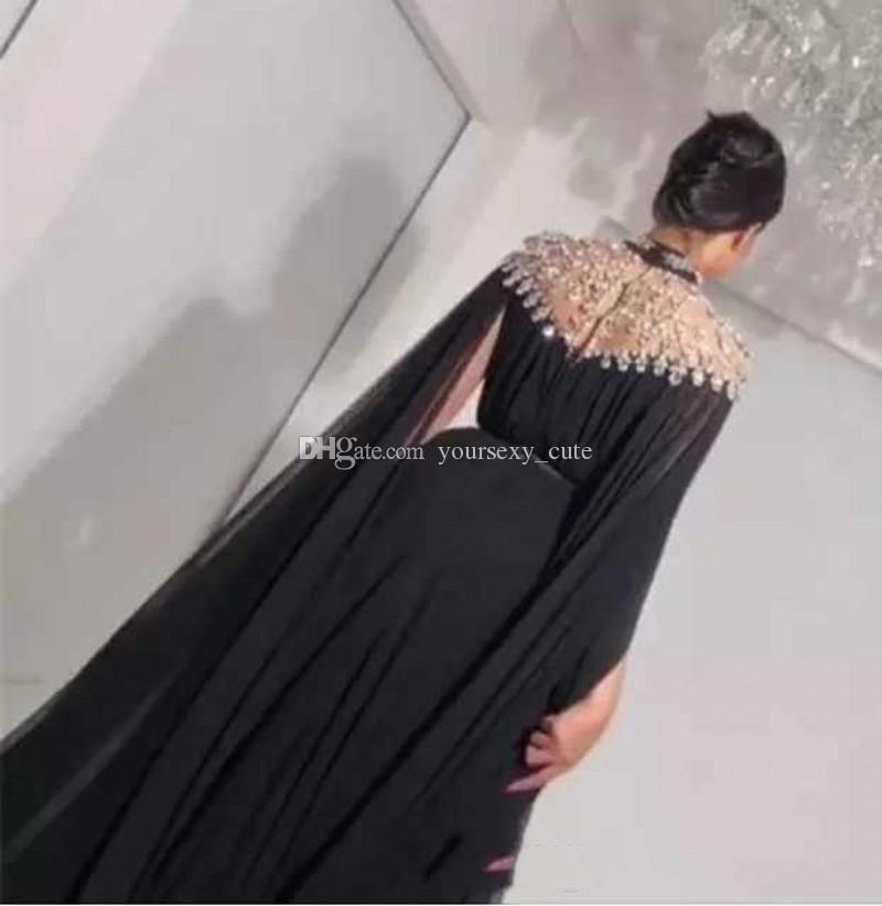 Wunderschöne kristall perlen abendkleider high neck chiffon bodenlangen saudi arabisch dubai abendkleider abendkleider