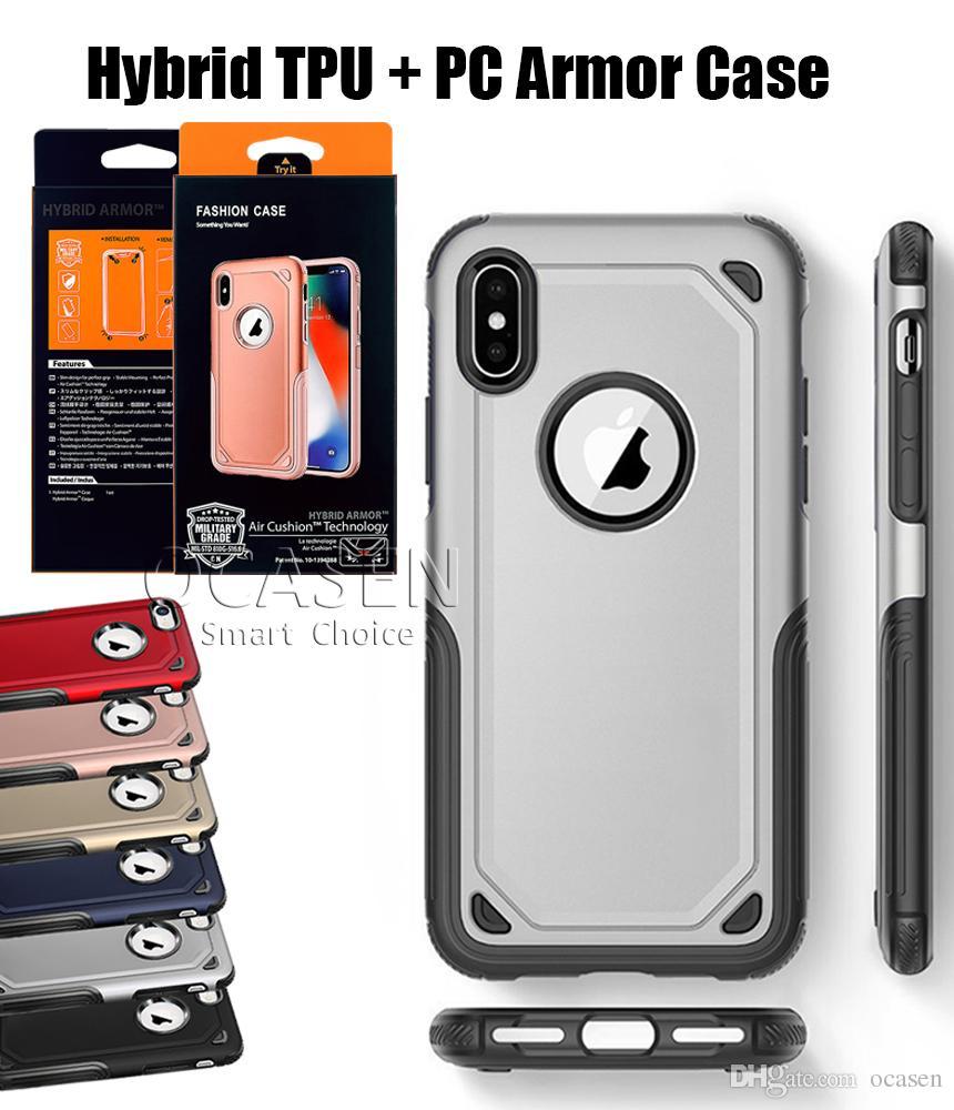 179bfe2ec62 Fundas De Telefono Funda Protectora Para Teléfono Con Tapa Trasera Rígida Para  IPhone 6S 7 8 Plus X Armadura Híbrida Shocckproof Para Samsung S8 S9 Plus  ...