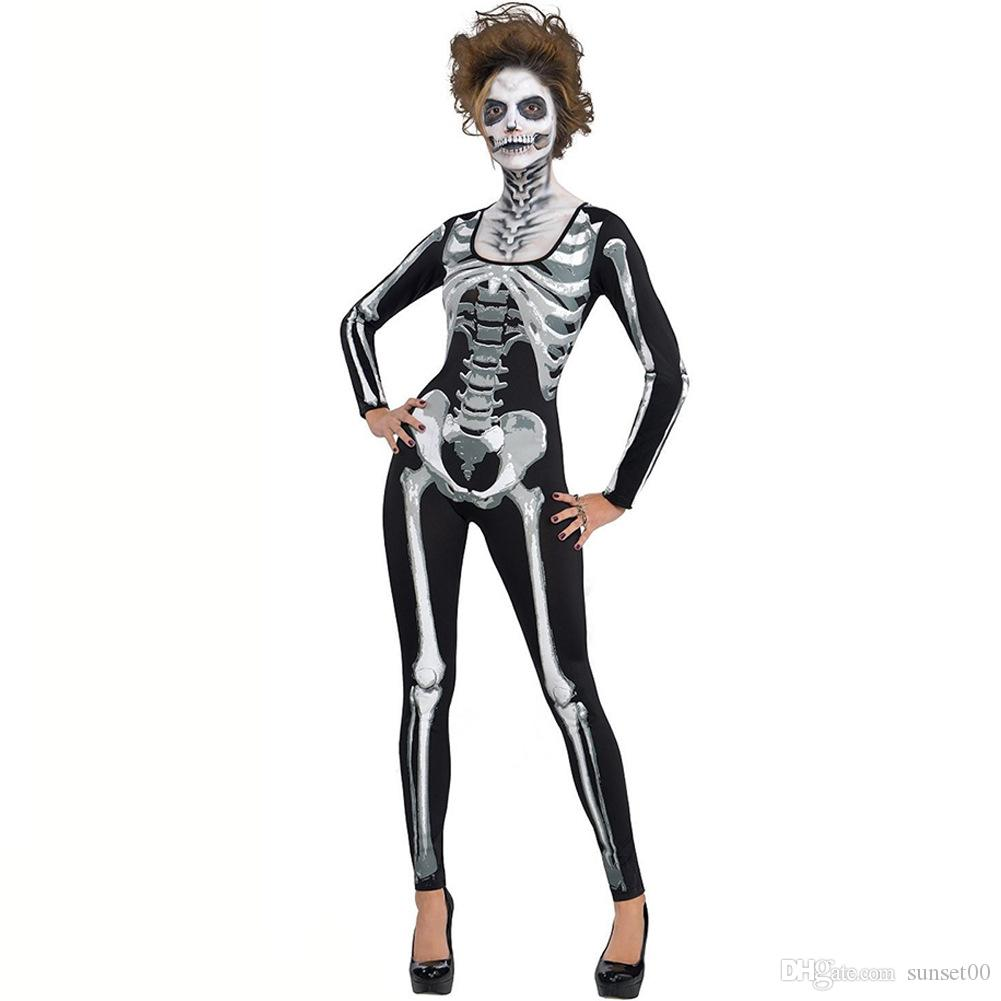 women halloween costumes ghost festival horrible skeleton jumpsuit ghost clothes party performance tight slim fit cosplay costume black cute group halloween