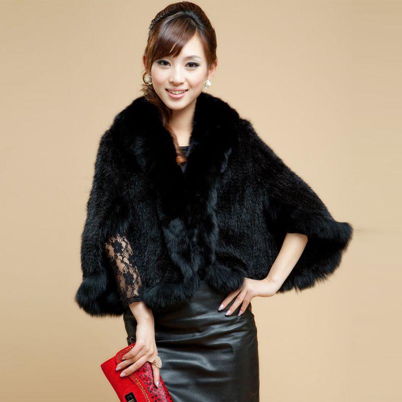 QUEENFUR New quality Real Knit Mink Fur Shawl Poncho With Fox Trimming Mink Fur Jacket Fashion Women 2017 Style Mink Fur Coat
