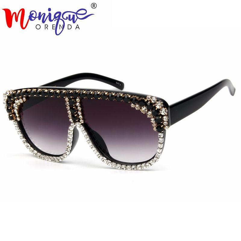 3ca6cc6d61d Oversized Sunglasses Women Big Frame Flat Top Rhinestones Sun Glasses Men  2018 New Designer Vintage Square Gradient Shades Polarised Sunglasses Baby  ...