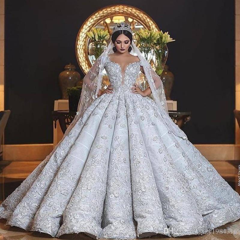 Saudi Arabia Princess Bridal Dress Sheer Jewel Neck Beaded Lace Appliques Ball Gown Wedding Dresses Glamorous Sparkly Dubai Wedding Gown
