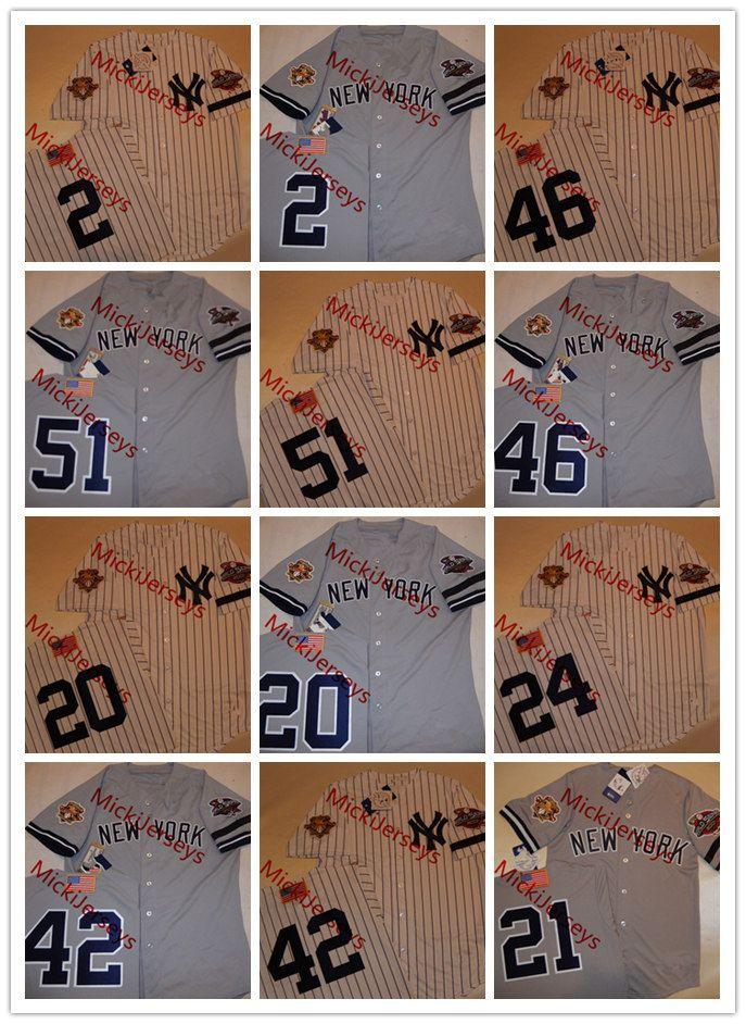 b19c53259 2018 Mens Derek Jeter 2001 Ws Jerseys  24 Tino Martinez  42 Mariano Rivera   46 Andy Pettitte  51 Bernie Williams 3 Patch Jersey S 3xl From  Mickijerseys