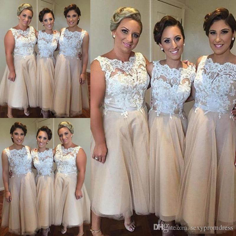 White And Champagne Short Bridesmaid Dresses
