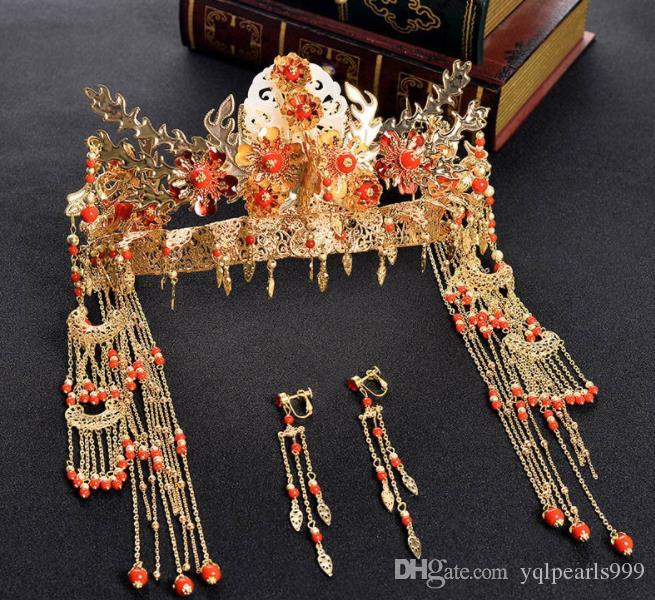 Yeni gelinler, Çin Kırmızı Taç şapkalar, küpeler, antik kostümü, püskül, Xiu elbise, gelinlik aksesuarları.
