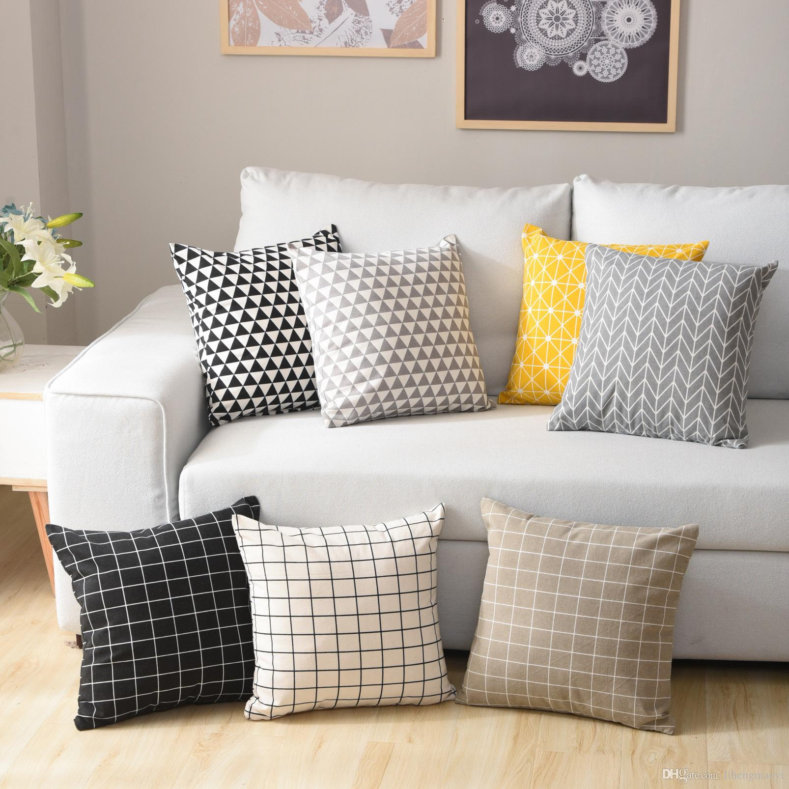 Nordic Style Cotton And Linen Cushion Cover Home Sofa Pillow Cover ...