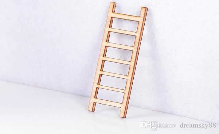 Small Wooden Ladder Landscape Decoration Ornament Fairy Garden Doll House