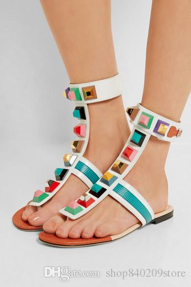 45049760 Women's Sandals Multicolored Spikes Embellished T-strap Flats with Rainbow  Plexiglass Studs Sandy Sandalia Feminina Rivets Gladiator Sandals