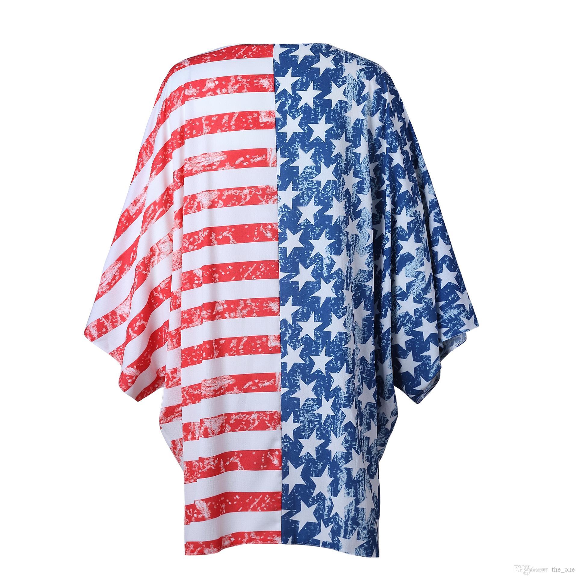 2018 Primavera Verano Día de la Independencia Bandera Nacional Americana Chaqueta de punto de manga larga Trajes de mujer de rayas rojas de moda de maternidad embarazada Tops