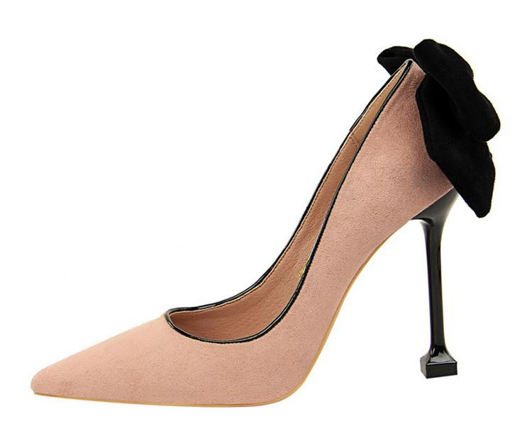 e659d605bb0c Großhandel 2018 Neue Mode Design High Heels Stiletto Frauen Pumpt Dünne  Ferse Klassische Großen Bogen Rosa Rot Schwarz Sexy Flock Hochzeit Schuhe  Frauen Von ...