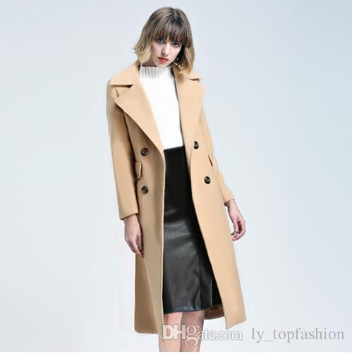 0a80e489356 New Women Winter Notched Big Lapel Double Breasted Wool Blended Knee ...