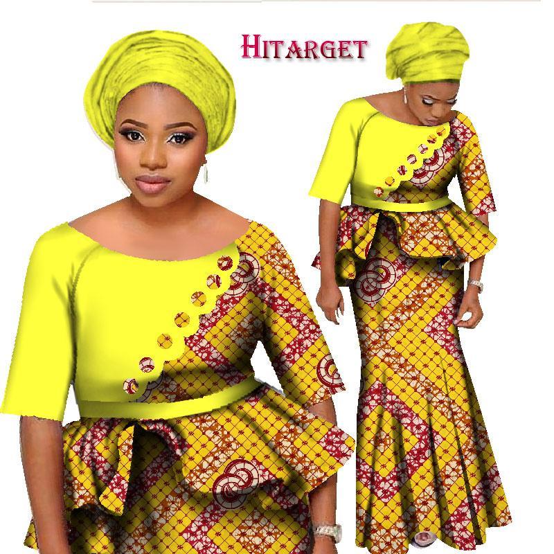 9c83ea04a41f4d 2018BintaReal Cire Africaine Deux Pièces Ensemble Femmes Demi Manches Crop  Tops Longue Jupe Ensembles Africaine Sirène Maxi Vêtements 6XL WY1252