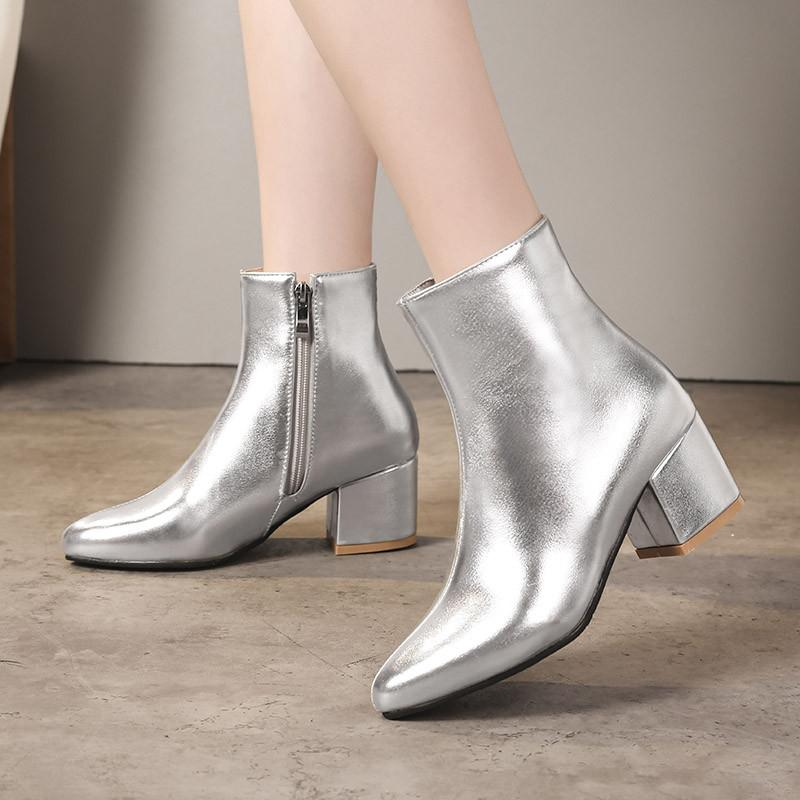 6571974dd2cc YMECHIC 2018 Autumn Gold Silver Black Ankle Boots Women Fashion Block High  Heels Pointed Toe Patent Leather Party Shoes Big Size High Heels Heels From  ...