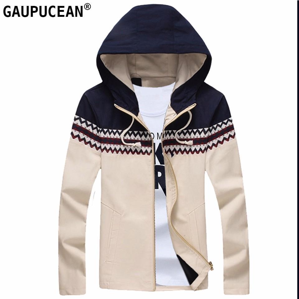 48c4a404d55 Cotton Man Hooded Jacket Zipper Red Khaki Navy Blue Beige Slim ...