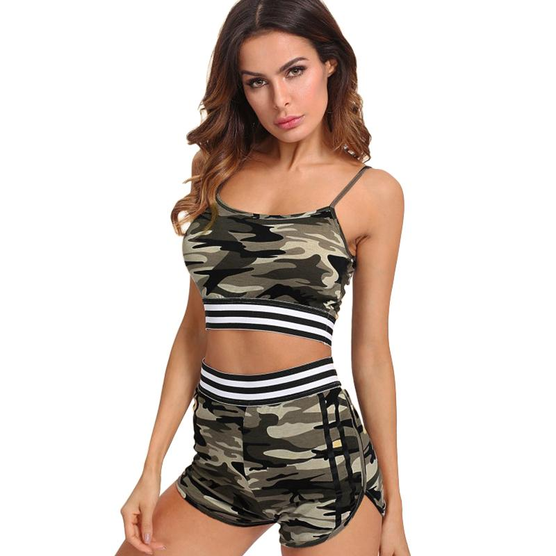 b01509b02b39 2019 Women Camouflage Suit Two Piece Set Sexy Crop Top Shorts Tracksuit  Conjunto Feminino Womens Shorts Set Female 2018 Suits Clothes From  Qackwang