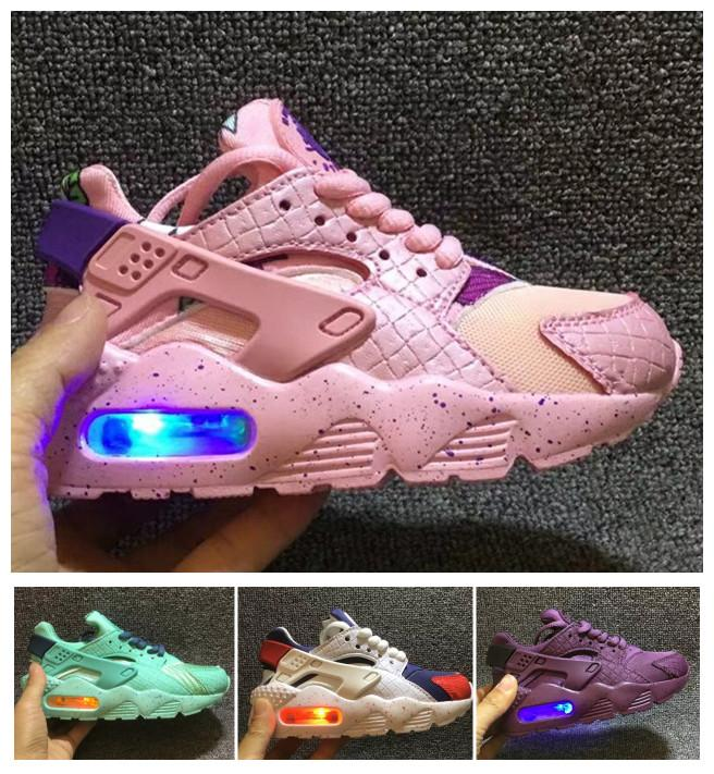nike air Huarache iluminado Kids Air Huarache niños corriendo zapatos infantiles Huaraches Outdoor Toddler Athletic Boy Girls Sneaker 26 35