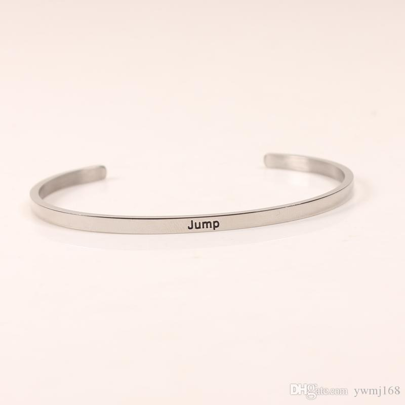 2018 New JUMP Silver Stainless Steel Engraved Positive Inspirational Quote Stamped Cuff Mantra Bracelet Bangle For Women Best Gifts