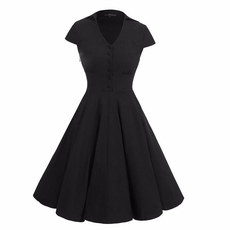 Women Dress Retro Hepburn Style Dress Europe Station Solid Color V-neck Dress