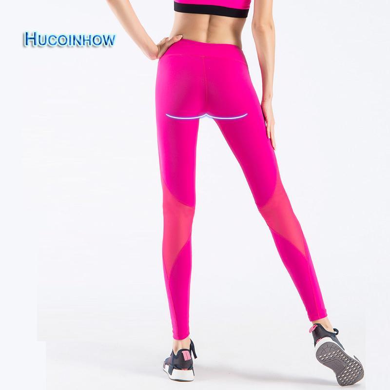 2018 Hucoinhow Brand Women Yoga Pants Nylon Elastic Mesh Patchwork Yoga  Leggings Female Tight Pencil Pants Women S Sport Leggings From Comen 3128d518a4