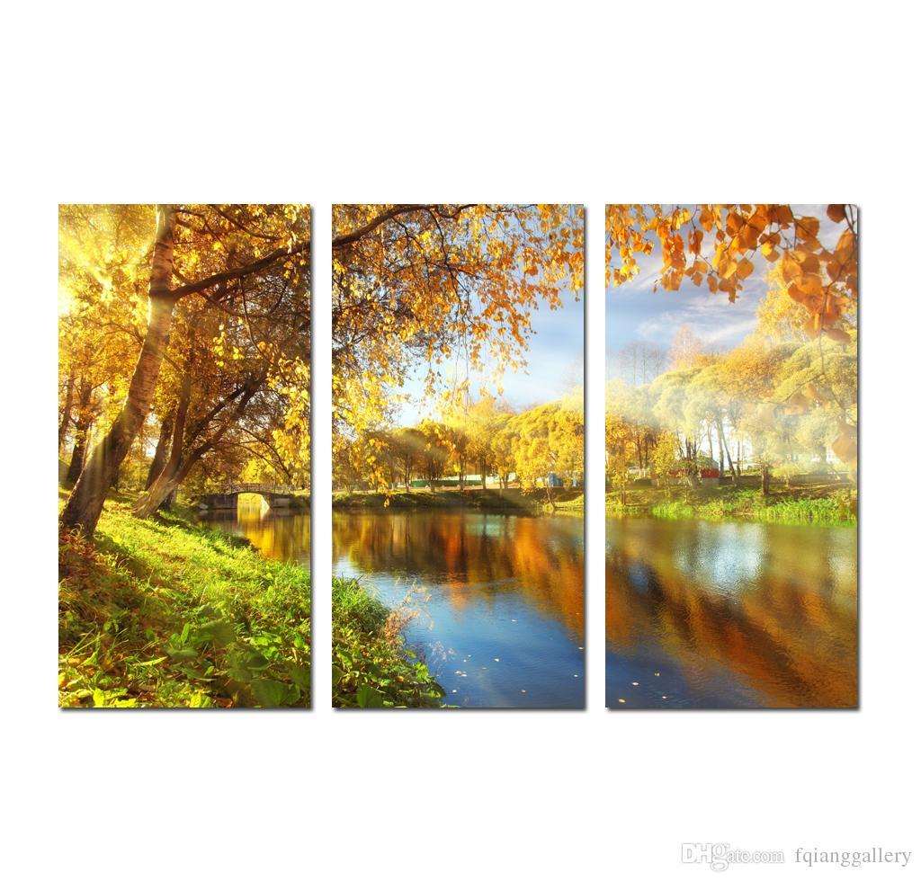 2018 Large 3 Panel Golden Autumn Maple Landscape Painting Canvas ...