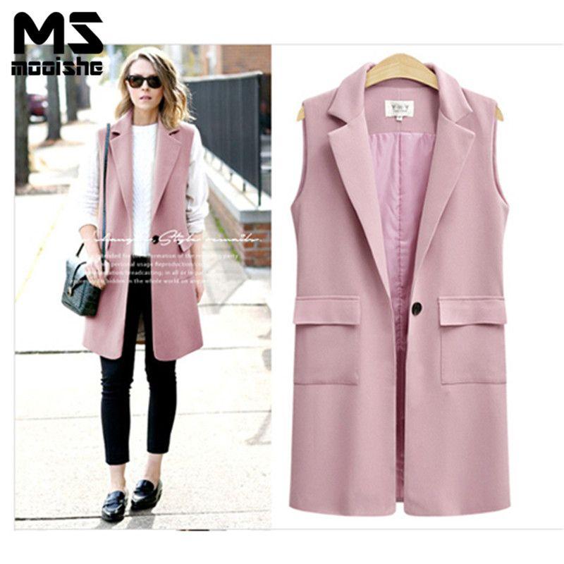 f0b7c30ed90f0 2019 Mooishe Autumn Casual Women Vest Pink Black Office Long Suit s Vest  Female Sleeveless Plus Size 5xl Cardigan Waistcoat From Honjiao