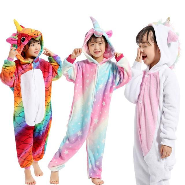 db28a1e065fe Children Pajamas Unicorn Winter Pajama Cartoon Animal Sleepwear ...