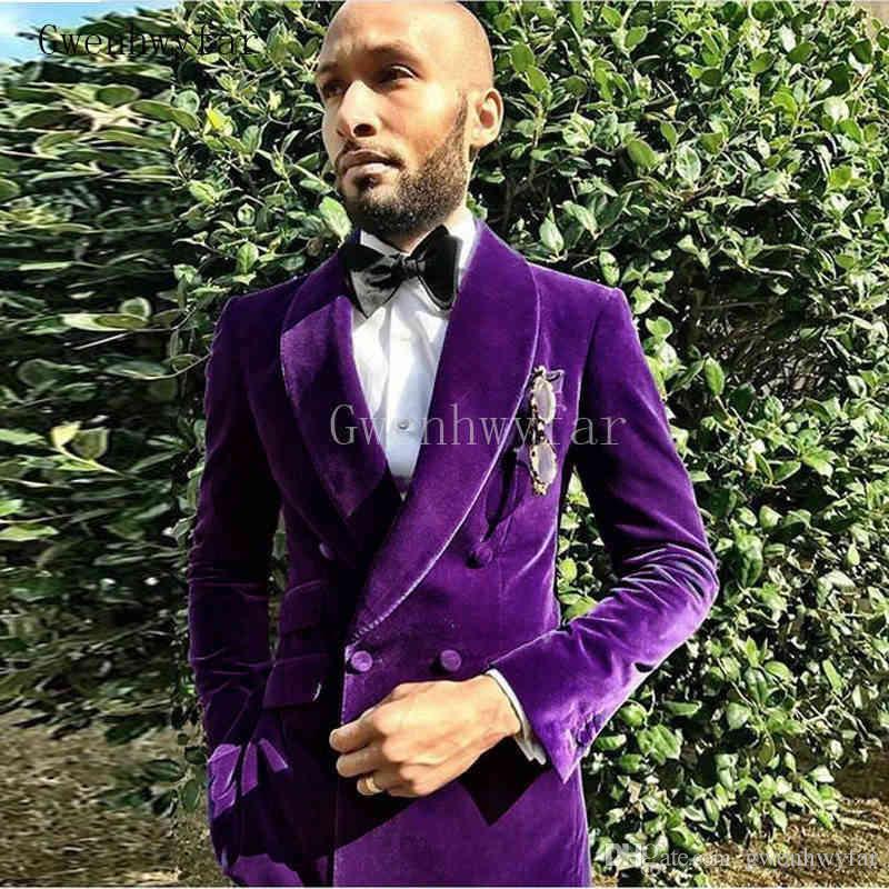 2018 последние образцы фиолетовый бархатный мужской костюм на заказ размер смокинги выпускного вечера мужские костюмы лучший мужчина жених свадебные костюмы куртка + брюки 2 шт