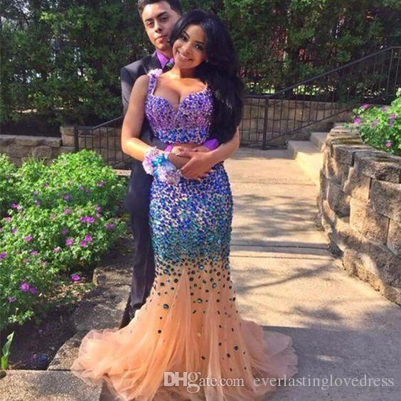 Tulle Crystal Sweetheart Major in rilievo blu e nudo due pezzi Prom Dress Sirena Abiti da sera con perline colorate