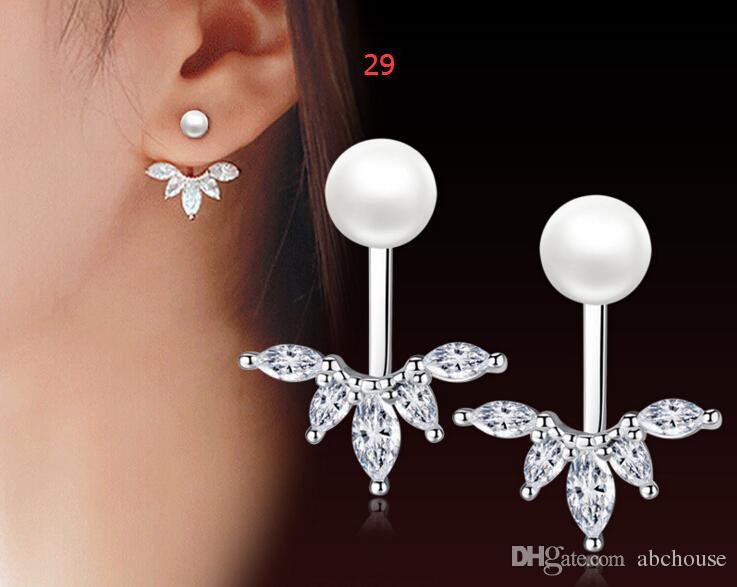 Top quality zircon pearl silver earrings, jewelry, and anti allergic temperament ear clip earrings, earrings small jewelry wholesale