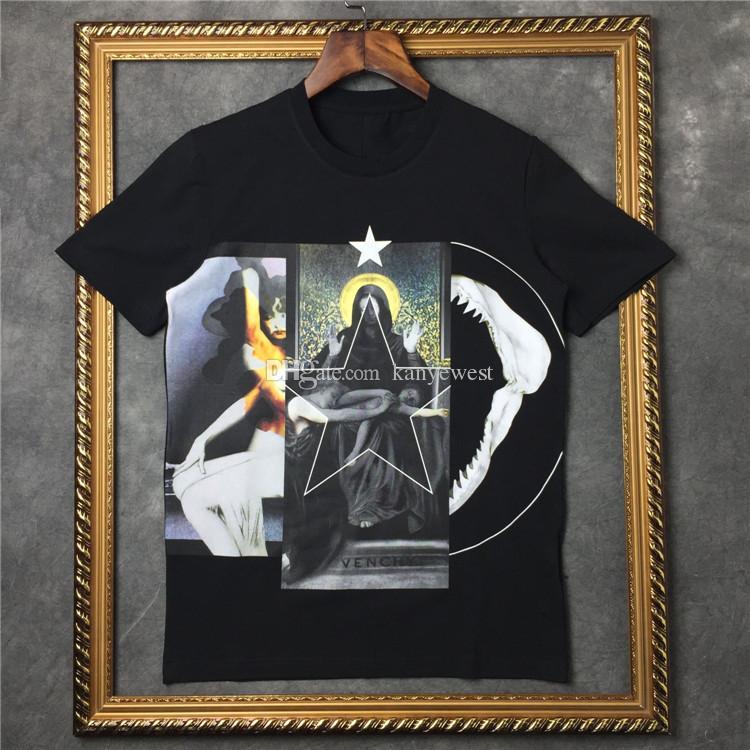 18ss nova moda verão t shirt homens o-pescoço Pentagrama Virgem Impresso T-Shirt Tshirt Dos Homens Das Mulheres Designer de T Camisa de Algodão Casuais Tee