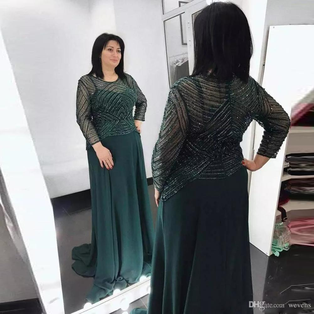 Teal Green A Line Chiffon Mother Of The Bride Dresses Jewel Neck Full Sleeve Beading Long Evening Wear Sequin Wedding Guest Dress