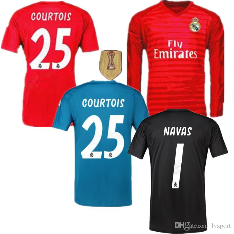 582a46c21 2019 Real Madrid Goalkeeper Jersey Long Sleeve Red  1 NAVAS Soccer Shirt 18  19 Real Madrid Thailand GK  25 COURTOIS Black Blue Football Uniforms From  ...