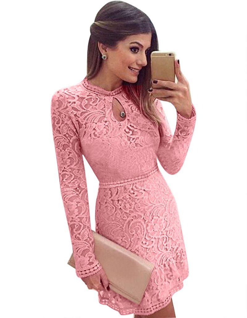 Summer Lace Dress Pink Elegant Party Dresses Multi Way Dress 3 Choices F2949 Full Lace Long Sleeve Ruffled Hem